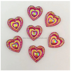 FUCHSIA PINK CRYSTAL HEARTS Gem-Gems (approx 20 pieces) by PRO FX