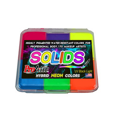 NEON SOLIDS PALETTE ProAiir Water Resistant Face and Body Paint for Brush (cake)