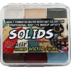 WICKED SOLIDS PALETTE ProAiir Water Resistant Face and Body Paint for Brush (cake)