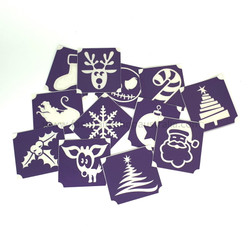 Christmas Glitter Tattoos Bundle - 36 Stencils