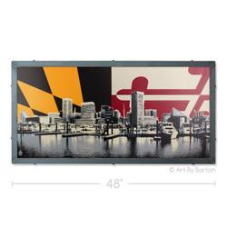 Baltimore Skyline with Maryland Flag Silk Screen Artwork