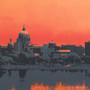 Harrisburg Sunset Silk Screen Detail
