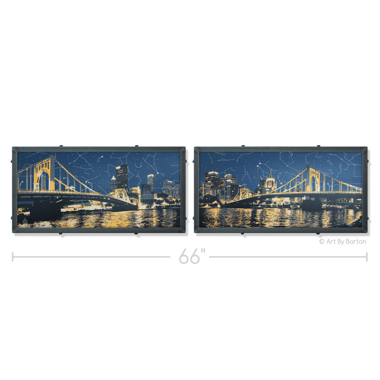 Pittsburgh Skyline Starmap Panoramic