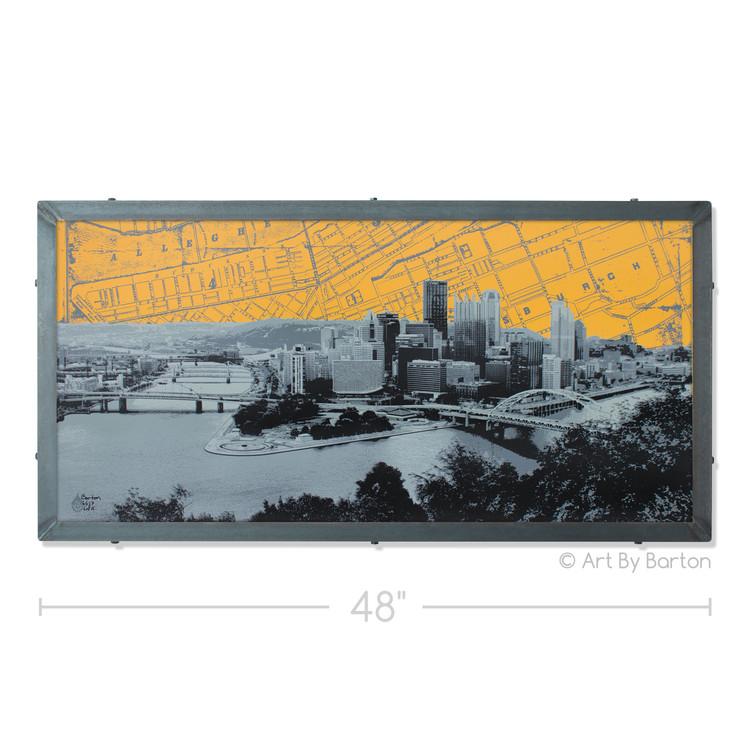 Pittsburgh Skyline Map Silk Screen Print