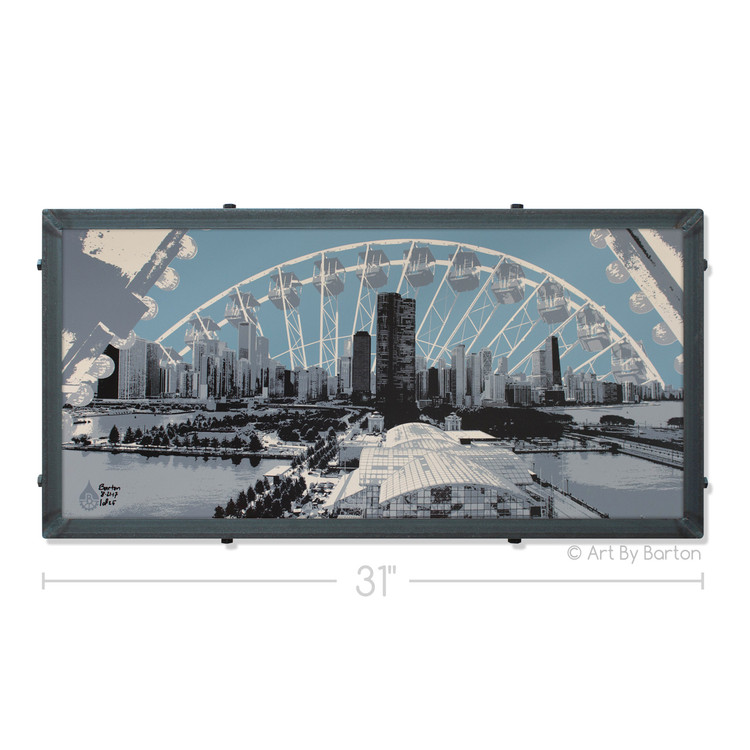 Chicago Skyline view from Navy Pier Art by Charlie Barton