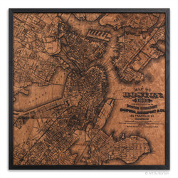 Boston city map on wood