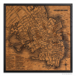Charleston map on wood