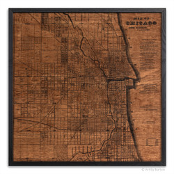 Chicago silkscreen map on wood