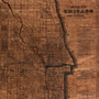 Chicago artwork city map on wood