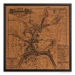 Ellicott City Map on Wood