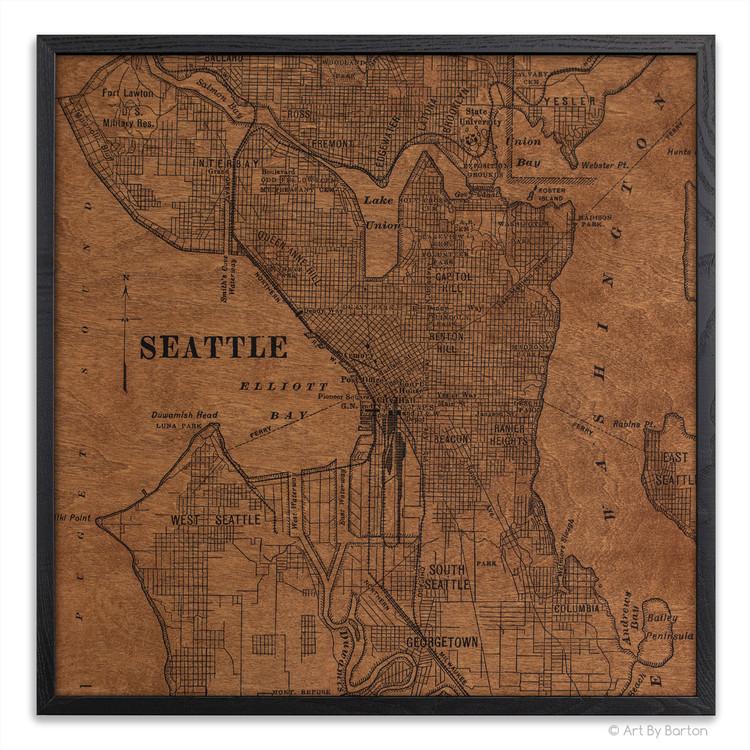Seattle silk screen map