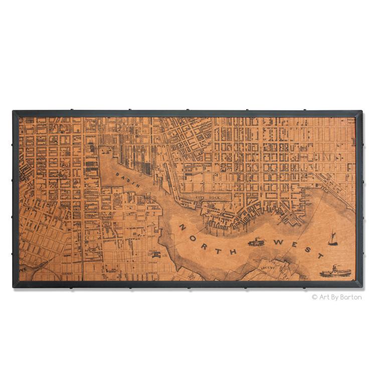Large Baltimore map on wood