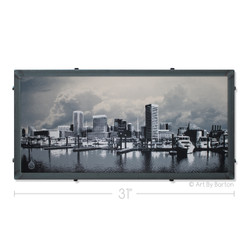 Little Baltimore Skyline with Clouds Silk Screen Artwork