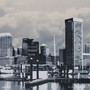 Little Baltimore Skyline with Clouds Artwork