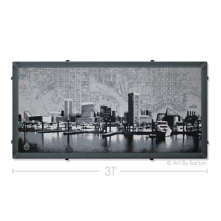Little Grey Baltimore Skyline With Map