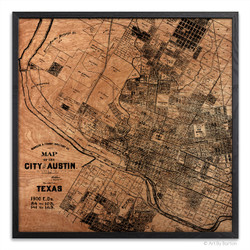 Austin Map - Silkscreen Print on Wood