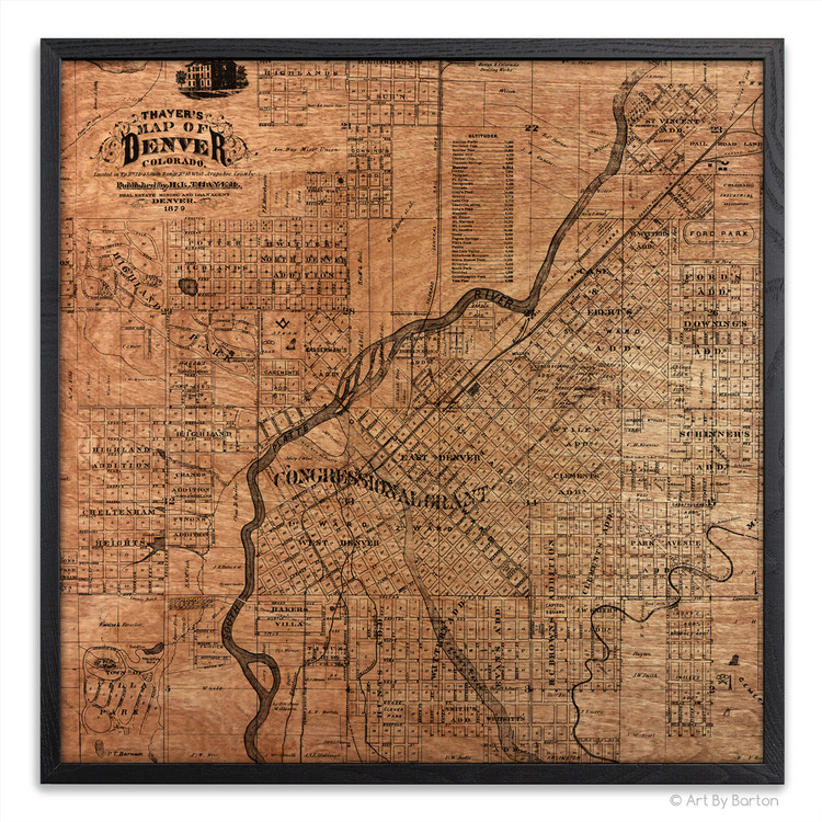 Denver Map - Silkscreen Print on Wood