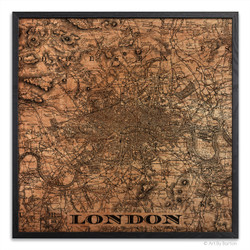London Map - Silkscreen Print on Wood