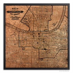 Nashville Map - Silkscreen Print on Wood