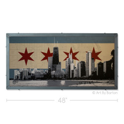 Chicago Flag Skyline Silk Screen Print