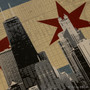 Chicago Flag Skyline Silk Screen Print Detail