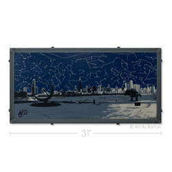 Chicago Skyline From Adler Planetarium Silk Screen Print