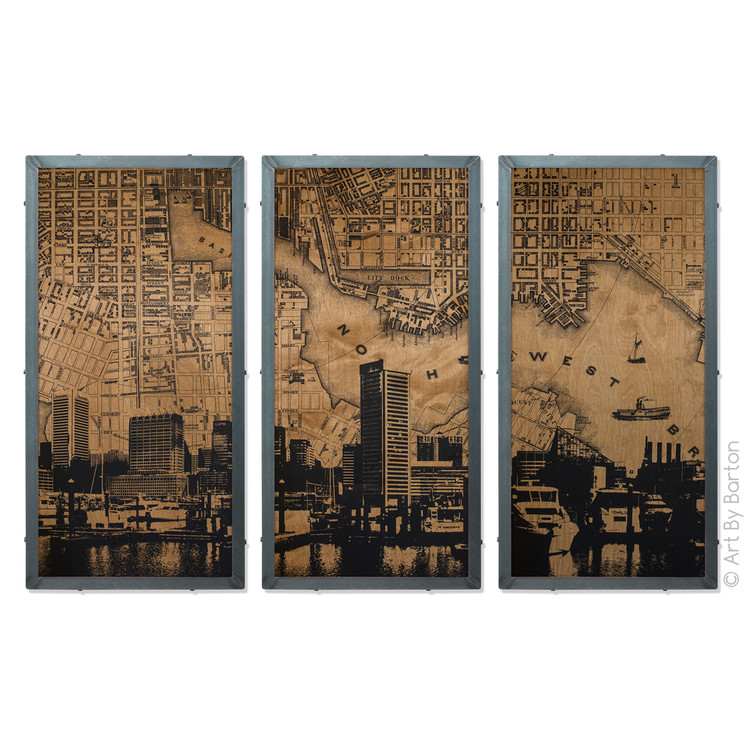 Art By Barton Baltimore Map Triptych