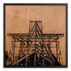 Roanoke Star Print on Wood
