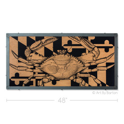 Maryland Crab Flag Print on Wood