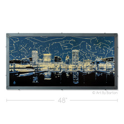 Baltimore Skyline with Star Map Silk Screen Print