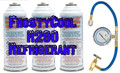 "R290 Refrigerant ""20 oz Equivalent"" - 3x Cans & Gauge Set Formally 22a"