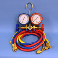 "Brass Manifold Set with Sight Glass - Includes Gauge Protectors 3 - 60"" Colour Coded Hoses Red Blue Yellow"