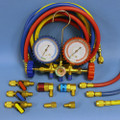 "Brass  Manifold Set with Sight Glass - Includes Gauge Protectors - Colour Coded  Ball Shut Off Valves Low & High Side  134a Quick Connectors 3  - 60""  Colour Coded Hoses Hose Adapter ( FC2734) Tank ( FC0407) Adapter Red Blue Yellow"