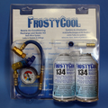 FrostyCool 134 replacement Recharge Kit - 2x cans 134 replacement, charging hose with gauge, Low side adapter