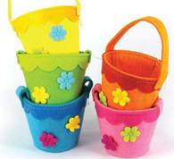 Easter Felt Round Basket with Flowers   TNW Australia