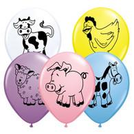 Latex Printed Mixed Farm Animals Balloons|  Qualatex