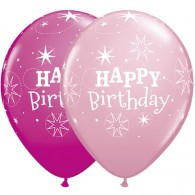Latex Balloons Birthday Sparkle Pink & Wild Berry | Qualatex