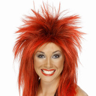 1980's Punk Rock Diva Red Wig | Smiffy's