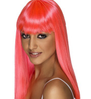 Glamourama Neon Pink Wig | Smiffy's