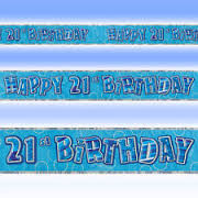 Happy 21st Birthday Blue & Silver Foil Banner