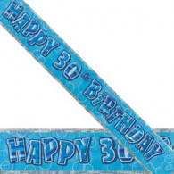 Happy 30th Birthday Blue & Silver Foil Banner