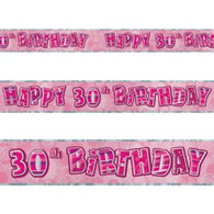 Happy 30th Birthday Pink & Silver Foil Banner