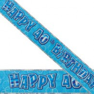 Happy 40th Birthday Blue & Silver Foil Banner