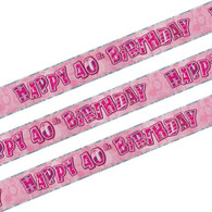 Happy 40th Birthday Pink & Silver Foil Banner