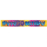 Happy 50th Birthday MultiColoured Foil Banner
