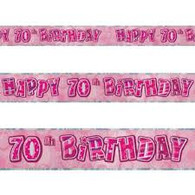 Happy 70th Birthday Pink & Silver Foil Banner