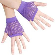 1980's Short Fingerless Fishnet Gloves Purple | Dr Tom's