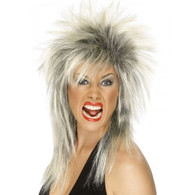 1980's Punk Rock Diva Blonde/Black Wig | Smiffy's