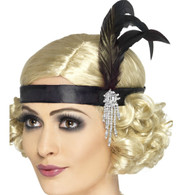 1920's Black Satin Charleston Headband | Smiffy's