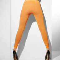 1980's Neon Orange Opaque Footless Tights | Fever Hosiery